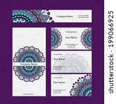 set retro business card. vector ... | Shutterstock .eps vector #199066925