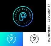 p monogram in circle. p logo.... | Shutterstock .eps vector #1990680467