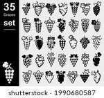 grapes set. collection icons... | Shutterstock .eps vector #1990680587