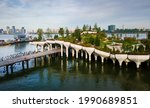 Little Island park at Pier 55 in New York, an artificial island park in the Hudson River west of Manhattan in New York City, adjoining Hudson River Park aerial view