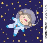 monkey astronaut on a stars... | Shutterstock .eps vector #199073771
