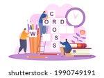 tiny people solving crossword... | Shutterstock .eps vector #1990749191