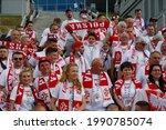 Small photo of Saint Petersburg, Russia - 14 June 2021: Football. European Football Championship 2020. 1st round, Group E. Poland v Slovakia. Fans, viewers, fan, Fans Poland.