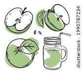 green apple juice smoothie in...   Shutterstock .eps vector #1990787234
