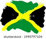 Cool Jamaican Flag On A White...