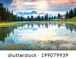 alpine lake in dolomites and... | Shutterstock . vector #199079939