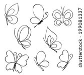 Stock vector set of hand drawn butterflies 199081337