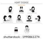 set of woman with heart disease ... | Shutterstock .eps vector #1990861274
