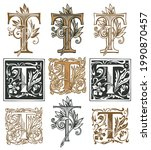 ornate initial letter t with a... | Shutterstock .eps vector #1990870457