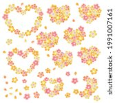heart shaped cherry blossom... | Shutterstock .eps vector #1991007161