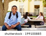 male high school student using... | Shutterstock . vector #199100885