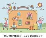 people on vacation around big...   Shutterstock .eps vector #1991008874