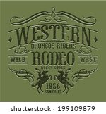 Western riders rodeo, vintage vector artwork for boy wear, grunge effect in separate layers