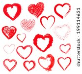 vector set of hand drawn hearts | Shutterstock .eps vector #199114631