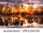 Golden Misty Sunrise On The...