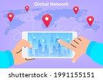 global data sharing. people...   Shutterstock .eps vector #1991155151