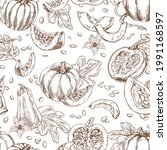 seamless outlined pattern with...   Shutterstock .eps vector #1991168597