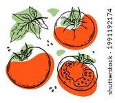 tomato delicious vegetable...   Shutterstock .eps vector #1991192174