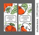 tomato red apple labels design...   Shutterstock .eps vector #1991193641