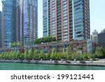 view of chicago riverwalk lined ... | Shutterstock . vector #199121441