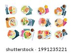 morning healthy food top view....   Shutterstock .eps vector #1991235221