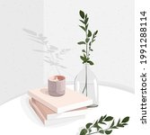 still life with books  candles  ...   Shutterstock .eps vector #1991288114