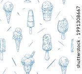 ice cream seamless pattern.... | Shutterstock .eps vector #1991308667