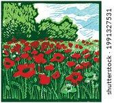 Vector Linocut Field Of Poppies....