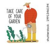 gardener watering plants. man...   Shutterstock .eps vector #1991346194