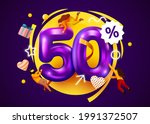 mega sale. 50 percent discount. ... | Shutterstock .eps vector #1991372507