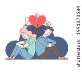 the breakup of a young couple.... | Shutterstock .eps vector #1991373584