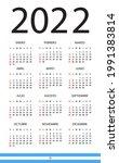 2022 calendar   vector template ... | Shutterstock .eps vector #1991383814