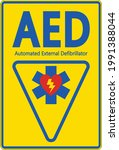 symbol aed sign label on... | Shutterstock .eps vector #1991388044