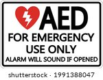 symbol aed sign label on white... | Shutterstock .eps vector #1991388047