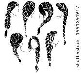 set of braids silhouettes ... | Shutterstock .eps vector #1991394917