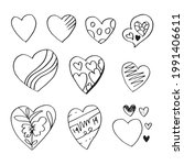 doodle hearts  hand drawn love... | Shutterstock .eps vector #1991406611
