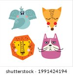 set of vector kid's cards with... | Shutterstock .eps vector #1991424194