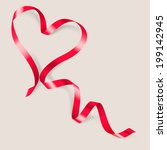 heart made of red ribbon on... | Shutterstock .eps vector #199142945