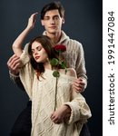 Young Couple Romance Rose...