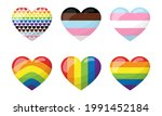 a set of heart shaped stickers... | Shutterstock .eps vector #1991452184