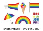a set of stickers for pride... | Shutterstock .eps vector #1991452187