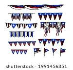 vector set of garlands of flags ...   Shutterstock .eps vector #1991456351