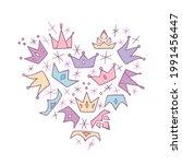 pastel heart symbol made of... | Shutterstock .eps vector #1991456447