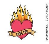 tattoo old school heart flame... | Shutterstock .eps vector #1991460284