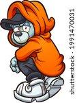 hooded teddy bear kneeling ... | Shutterstock .eps vector #1991470031