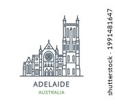 adelaide city  australia. line... | Shutterstock .eps vector #1991481647