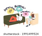 man talking with therapist...   Shutterstock .eps vector #1991499524