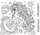 a cute unicorn runs on a... | Shutterstock .eps vector #1991508017