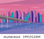 metropolis buildings and bridge ...   Shutterstock .eps vector #1991512304