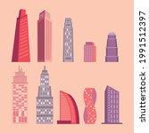 ten metropolis skyscrapers and...   Shutterstock .eps vector #1991512397